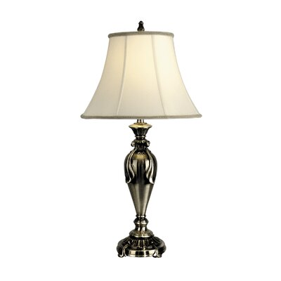 Dale Tiffany One Light Table Lamp with Fabric Shade in Antique Pewter