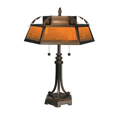 Two Light Table Lamp in Antique Golden Sand