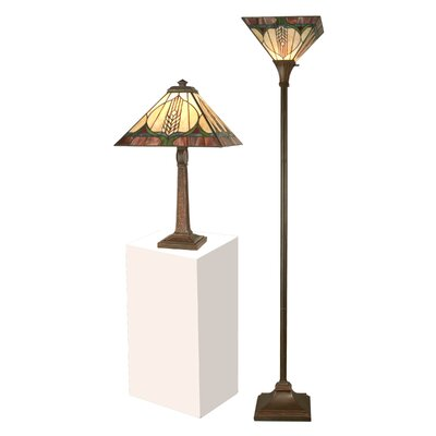 Dale Tiffany Stanton Mission 1 Light Table and Torchiere Floor Lamp (Set of 2)