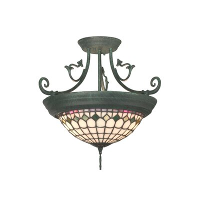Dale Tiffany Diamond Edge Tiffany 4 Light Semi Flush Mount