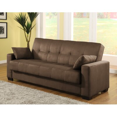 LifeStyle Solutions Casual Convertible Microsuede Storage Sofa