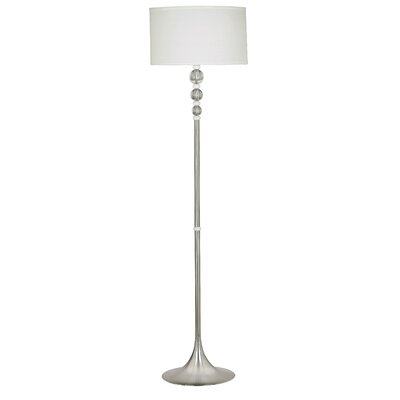 Kenroy Home Luella  Floor Lamp in Brushed Steel with White Acrylic Accents