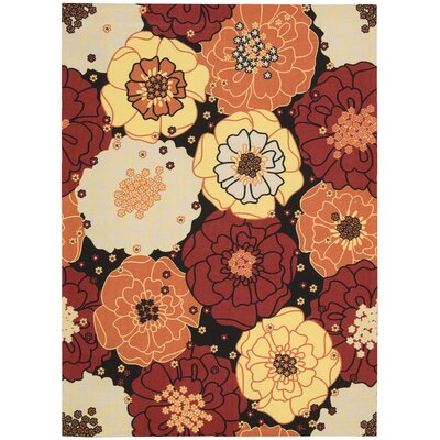 Nourison Home & Garden Floral Red Multi Rug