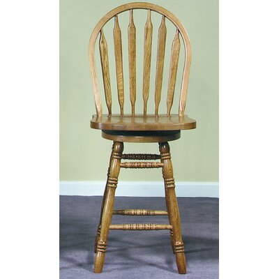 "International Concepts 24"" Arrowback Counter Stool (Medium Oak) w/ Swivel"