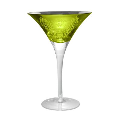 Artland Brocade Martini Glass in Lemon Grass (Set of 4)