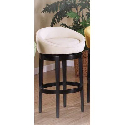 Armen Living Igloo Microfiber Swivel Barstool in Cream