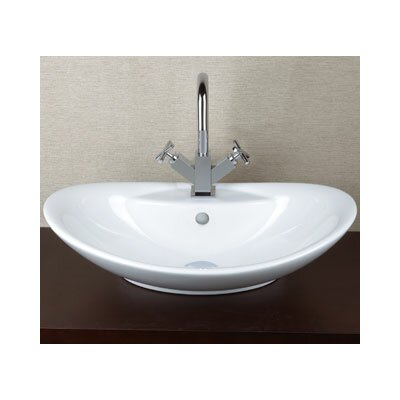 Oval Ceramic Vessel Bathroom Sink with Overflow - 200223-WH