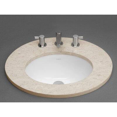 Oval Ceramic Undermount Bathroom Sink with Overflow - 200555-WH