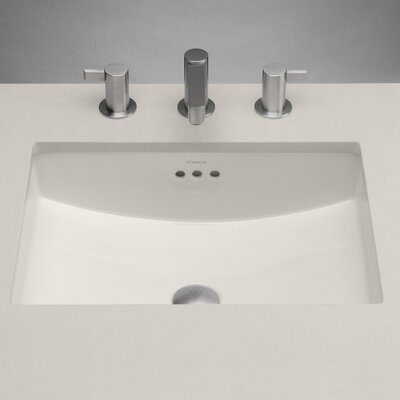 Rectangle Ceramic Undermount Bathroom Sink with Overflow - 200520-BI