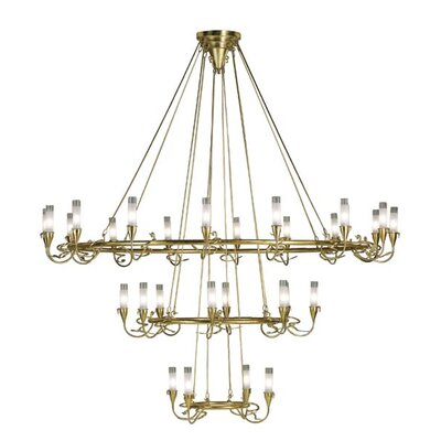 Lamp International Age 18 Light / Antique Silver Chandelier