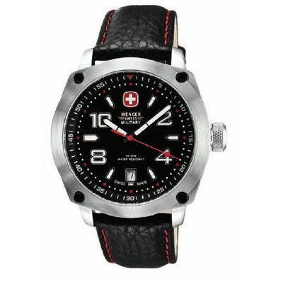 Wenger Swiss Gear Outback Watch with Black and Red Dial, Black Strap