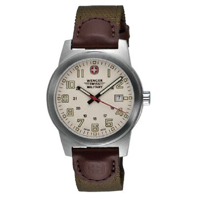 Wenger Swiss Gear Classic Field Military Wrist Watch with Ivory Dial and Olive Brown Nylon Strap