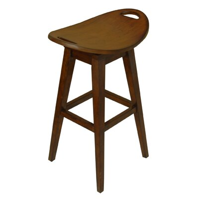 "Carolina Accents Thoroughbred 32"" Backless Swivel Bar Stool in Cherry"