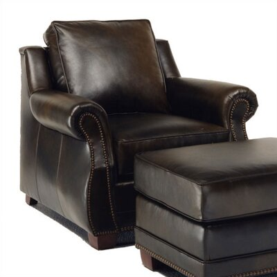 Distinction Leather Amber Leather Chair and Ottoman
