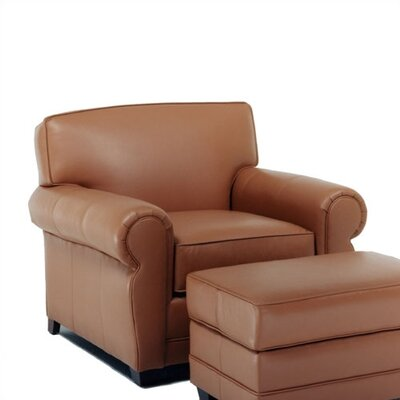 Distinction Leather Jordan Leather Chair and Ottoman