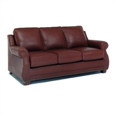 Studded wood leather sofa wayfair for Leather studded couch