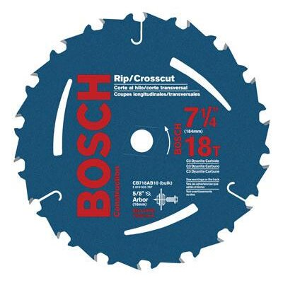 "Bosch Power Tools Carbide Construction/Framing Blade With 18 TPI, 5/8"" With 13/16"" Diamond Arbor, 20° Hook Angle And 0.068"" Kerf Bulk Pack (10 Per Pack)"