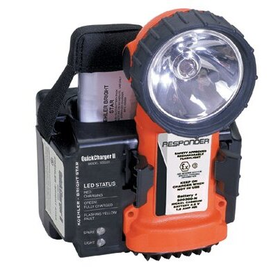 Bright Star Division 1 Flashlight w/ Ni-Cad Battery Pack & QuickCharger II w/ 120V AC & 12-24V DC Plugs (Orange)