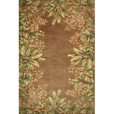 Emerald Taupe Tropical Border Rug
