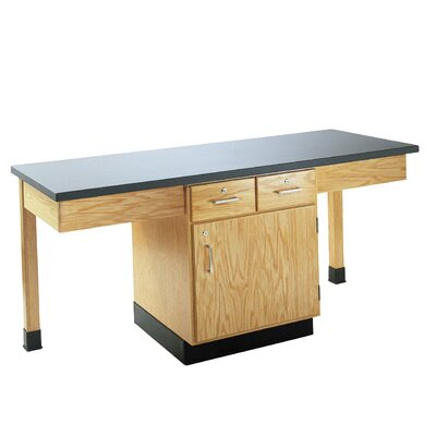 Diversified Woodcrafts 4 Station Science Table With Storage Cabinet &amp; Book Compartment