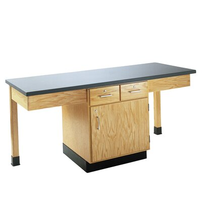 Diversified Woodcrafts 4 Station Science Table With Book Compartment &amp; Drawers