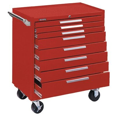 Kennedy Industrial Series Roller Cabinets - 10164 roller cabinet 8 drawer smooth red