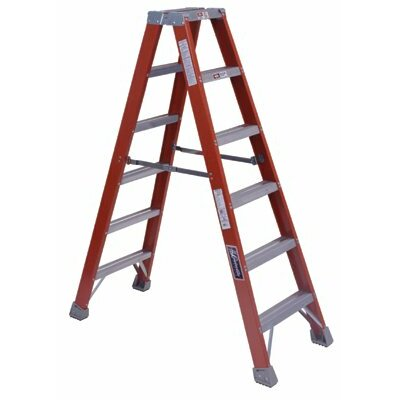 Louisville Ladder FM1500 Series Fiberglass Twin Front Ladders - 8' fiberglass twin stepladder type 1a