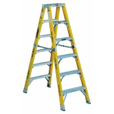 Louisville Ladder FM1100HD Series Rhino 375™ Twin Front Fiberglass Mechanic Step Ladders - 10' monarch fiberglassmechanic step ladder