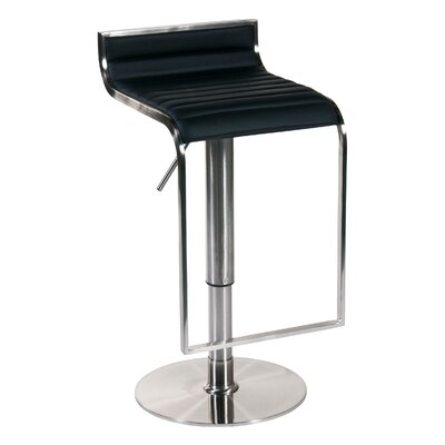 Forest Adjustable Bar Stool in Black Leather