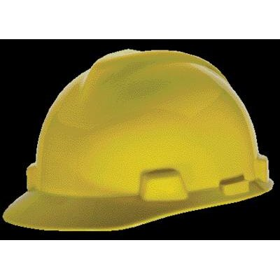 MSA V-Gard® Class E, G Type I Polyethylene Standard Slotted Hard Cap With Staz-On® Suspension