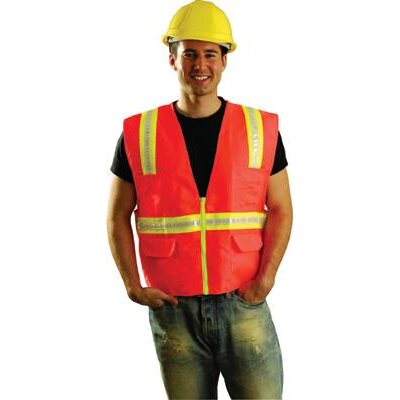 OccuNomix Large Hi-Viz Orange OccuLux® Polyester Surveryor Vest With 2 Tone Trim, 2 Surveryor Top Front Pockets, 2 Lower Front Pockets With Flap Covers, 2 Large Inside Pockets And Zipper Closure