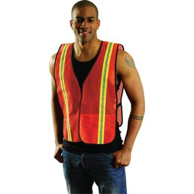 "OccuNomix Orange Mesh Safety Vest With 1 3/8"" 2-Tone 3M™ Scotchlite™ Reflective Tape"