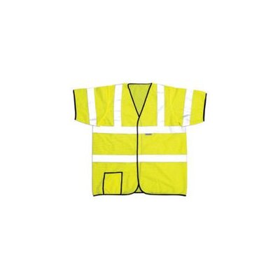 "OccuNomix OccuLux® Yellow High Visibility Short Sleeve Mesh Vest With 2"" 3M™Scotchlite™ Reflective Tape, Hoop And Loop Closure"