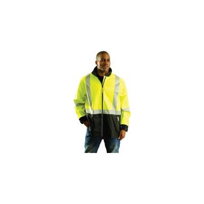 OccuNomix Large Fluorescent Yellow OccuLux® Windy Breathable Polyurethane Windbreaker With 3M™ Scotchlite™ Reflective Tape