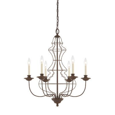 Laila Six Light Chandelier in Rustic Antique Bronze