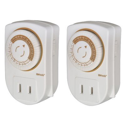 Woods Wire Indoor 24-Hour Mechanical Mini Timer (2 Pack)