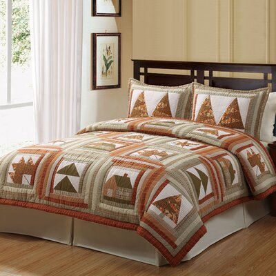 Log Cabin Leaves 2 Piece Quilt Set