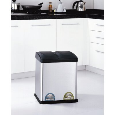 Two Compartment Step-On Recycling Bin in Stainless Steel and Black (7.9 Gal)
