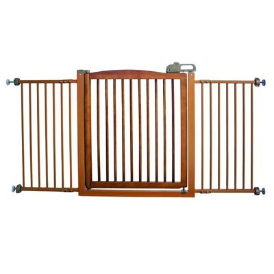 Richell Extra-Wide One-Touch Wooden Pet Gate in Autumn Matte Finish