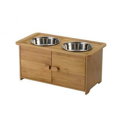 Richell Také Pet Serving Cabinet in Bamboo