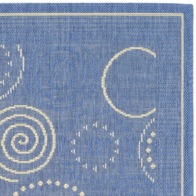 Safavieh Courtyard Blue/Natural Circle Rug