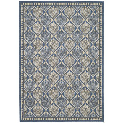 Courtyard Blue/Ivory Checked Rug