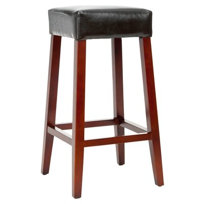 Isabella Bicast Leather Barstool in Black