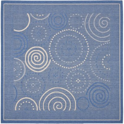 Courtyard Blue/Natural Circle Rug