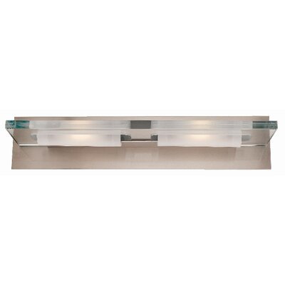 Access Lighting Phoebe  Vanity Light with Clear Glass in Brushed Steel