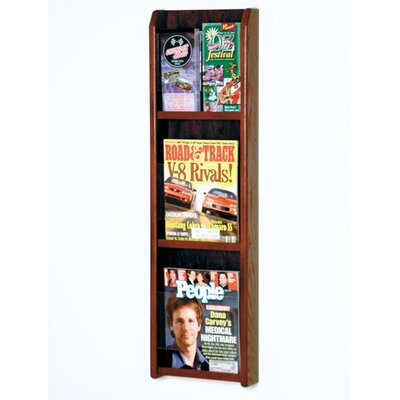 Wooden Mallet Three Magazine and Six Brochure Oak and Acrylic Wall Display