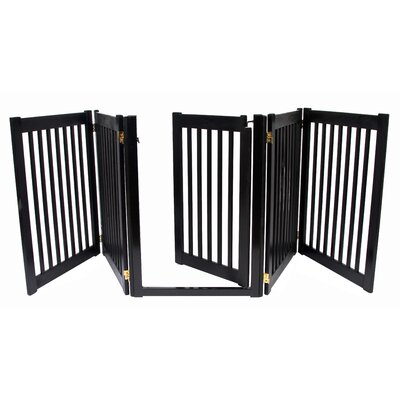 "Dynamic Accents 32"" Walk Through 5 Free Standing Pet Gate in Black"