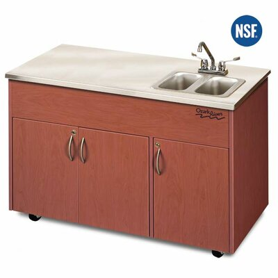 "Ozark River Portable Sinks Silver Advantage 48"" x 24"" Double Bowl Portable Sink with Storage Cabinet"