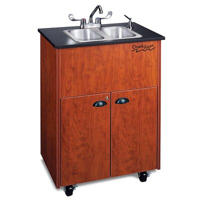 "Ozark River Portable Sinks Premier 26"" x 18"" 2 Portable Double Hand-Washing Station with Storage Cabinet"