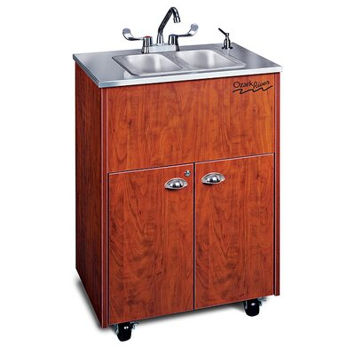 "Ozark River Portable Sinks Silver 26"" x 18""  Premier 2 Portable Double Hand Washing Station with Storage Cabinet"